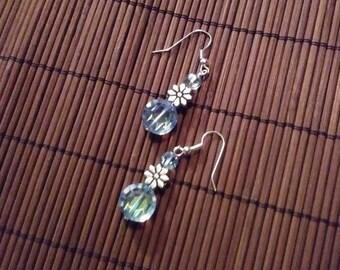 Ice Blue Crystal & Silver Tone Daisy Earrings
