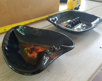 Vintage Black Ceramic Ashtrays