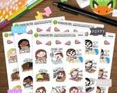 Summer Bucket List Kawaii Girls - Beach Fruit Pool Ice Cream Sun - Planner Stickers (K0058)