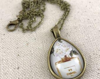 Chanel No 5 Necklace Antique Brass Teardrop