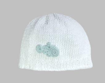 mid season, lightweight beanie baby Hat pattern cotton blend hand made fish