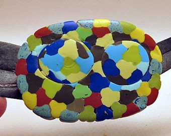 Home and Office magnetic decoration. Oval magnetic ornament. Sky Eyes design one of a kind magnet.