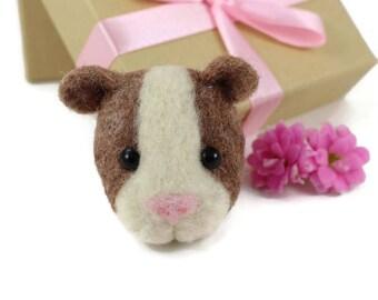 Guinea Pig Brooch, Needle Felted Guinea Pig, Guinea Pig Gifts, Guinea Pig Jewellery, Guinea Pig Badge, Guinea Pig Pin, Guinea Pig Accessory