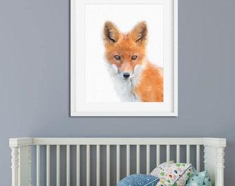 Woodlands Nursery, Fox Print, Nursery Animal Print, Animal Face Wall Art, DIY Nursery Print, Woodland Animals, Forest Animal Printable Art