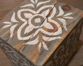 Painted decorative wood cube