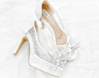 Wedding Shoes - White Lace with Ribbon Custom Heels or Flats