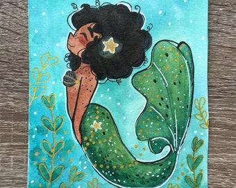 Aqua Mermaid Original Watercolor Painting