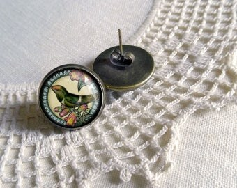 Hummingbird and Rose Stud Earrings