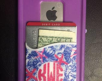 Monogrammed Cell Phone Caddy Holder Pocket Lilly Pulitzer Inspired Accesory Credit Card Holder