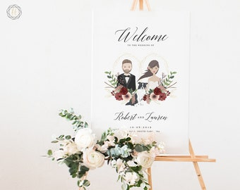 Wedding Welcome Sign, Welcome Wedding Sign, Welcome Sign, Illustrated Welcome Sign, Couples Portrait, Wedding Illustration Sign, #IBP