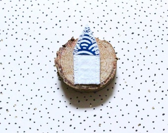 brooch Bohemian home in white tissue honeycomb and Japanese cotton fabric, retro brooch, retro brooch, poetic brooch