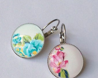 cabochon - flowers - nature earrings - spring - summer