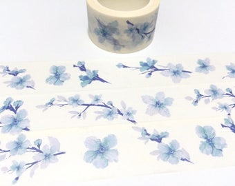 blue flower washi tape 8M x 2.5cm watercolor flower Masking tape blue garden sticker tape Garden flower diary gardening planner sticker tape