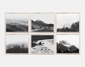 Set Of 6 Prints,Horizontal Wall Art,Set Of 6 Horizontal Prints,Black