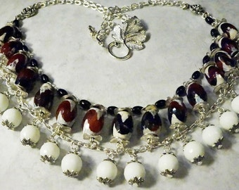 Agate Natural Gemstone Necklace, Statement Handmade Necklace, Beaded Necklace, Handmade Gemstone Jewelry, One-of-a-kind Handmade Necklace