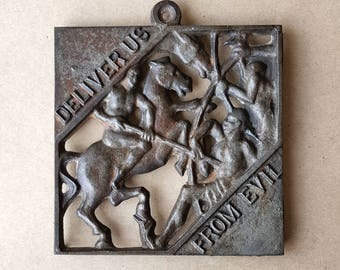 "G. Thew ""Deliver Us From Evil"" Trivet Cast Iron"