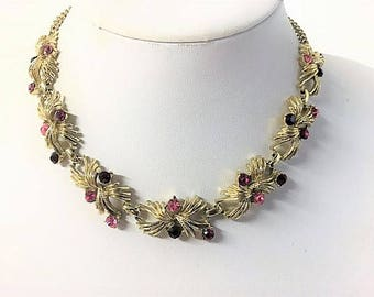 An Absolutely Stunning Vintage Gold Tone and Pink Diamante Necklace