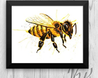 Save The Bees Poster Bumble Bee Hive Honey Wall Art Insect Print Watercolor Picture Nursery