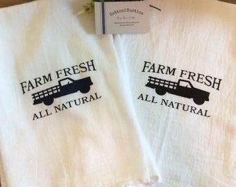 Decorative dish towel, farmhouse kitchen decor, flour sack towel, cotton dish towel, Farm Fresh All Natural Flour Sack Decorative Dish Towel