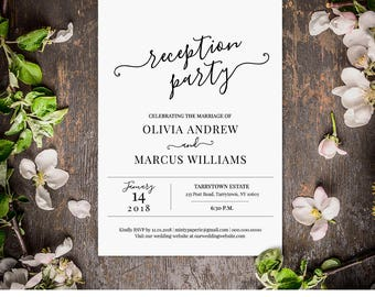 Wedding Reception Invitation, Reception Party Printable, Wedding Invite, Fully Editable Template, INSTANT DOWNLOAD, Digital, DIY #030-101WR
