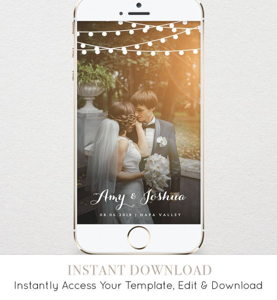 Wedding Geofilter, SnapChat Filter, Instant Download, String Lights, 100% Editable Template, Unlimited Use & Customization  #014-105GF