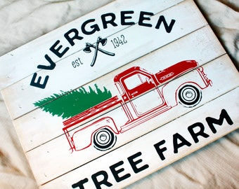 Rustic Christmas Decor, Painted Christmas signs, farmhouse wall decor for Christmas, holiday wall art, shabby painted wood signs, tree farm