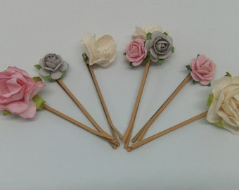 Pink, Grey & White Hair Pins