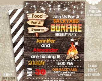 Bonfire invitation, printable bonfire birthday invite, Rustic wood templates, Self Editable PDF File A110-622