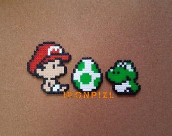 Figurine/Magnet/door-key/Deco bag baby Mario Yoshi egg Yoshi's Island Super Mario Video Game World [Pixel Art Perler Hama]