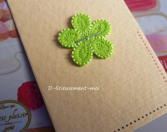 Patch for ironing, sewing, pasting with a felt green flower