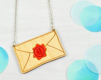 Hogwarts Letter Necklace   Harry Potter   Lasercut Wood Jewellery.