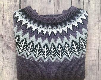 Valemon sweater, Icelandic sweater. Lopapeysa. Handmade.Handknitted Icelandic Fair Isle sweater, Lopapeysa for women. Ready to ship.