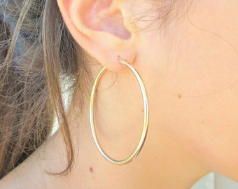 Large Gold Hoop Earrings, Extra Large Gold Hoops, 2mm Thickness Hoops, High Quality Gold Hoops, 14k Gold Filled Hoops, Gold Hoops.