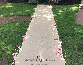 15-30 ft Custom Burlap Wedding Aisle Runner with Initials