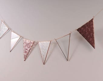 Upcycled purple glass bunting - recycled glass copper window decor