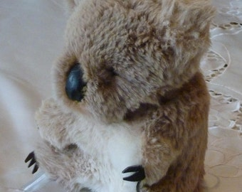 Vintage Stuffed Animal - Koala Stuffed Toy - Real Fur - Australian Koala Bear - Gift for the Collector