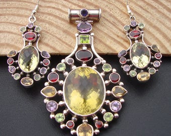 Multi-Gemstone 925 Sterling Silver Handmade Lovely Pendant With Earrings For Gift