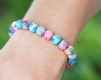 Just Because Colorful Bouquet Flowered Matte Bracelet - Floral Bracelet