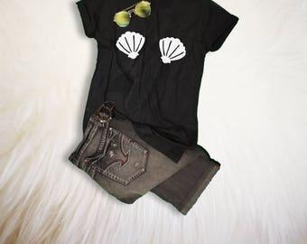 Funny Mermaid TShirt Unique Gift for her Womens Mermaid Shell Shirt Hipster Mermaid Bra Top Mermaid Party Outfit Fashion Clothing