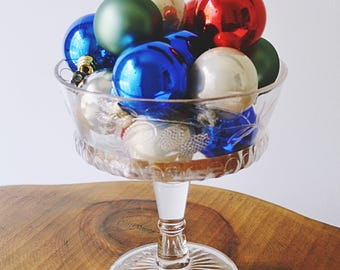 Pressed Glass Compote With Vintage Christmas Bulbs, Pattern Glass Comport, Bowl With Balls