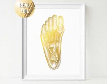 Podiatry Gifts - Podiatrist Gift - Gold Foil Print - Human Anatomy Feet Art Print - Foot Reflexology Massage Foot Muscles - Office Decor