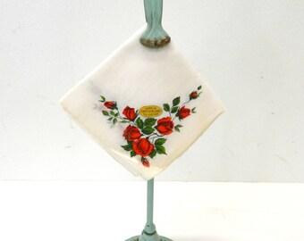 Vintage 1950s Handkerchief...White & Red Rose Linen Hankie...Made in Switzerland Sticker...All Cotton...Mid Century Mod...White Sheer...