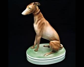 Vintage Zsolnay, Hungary Porcelain Greyhound, Whippet Dog Figurine, ca. 1955-1960
