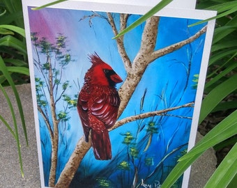 Greeting/card greeting card celebrates the Red father's day/birthday/thank you/congratulations/thank you/bird/Cardinal /-CC-LP-0049