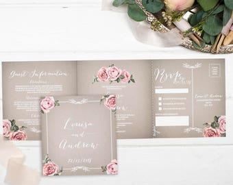 Vintage Wedding Invitation - Double-Folded Grey Floral Framed