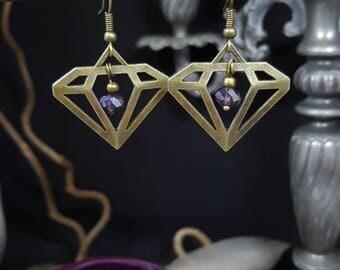 Purple Diamond Earrings - Bohemian - brass diamond charm - Bohemian - retro - classy - romantic glass beads
