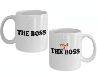 THE BOSS - The REAL Boss - Couple Mug Set - Funny Gift for Couples - Husband Wife - Mom Dad Gifts - 11 oz White Coffee Tea Cups