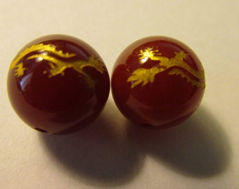 Round Carnelian Beads with Gold-Etched Dragons, 12mm, Set of 2