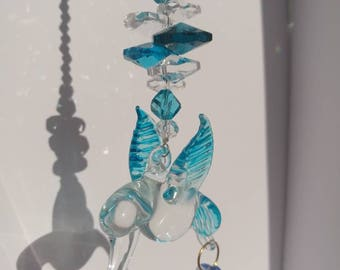 Aqua hummingbird sun catcher