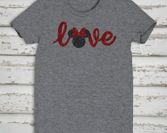 Disney World Minnie Mouse T Shirt, Disney Love, Vacation T Shirt, Glitter, Adult and Plus Sizes